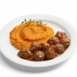 Beef meatballs with potato and carrot purée